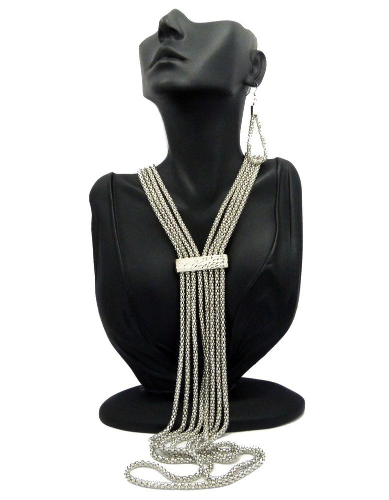 Ladies Long Lariat Necklace Earrings Set Combo Silver