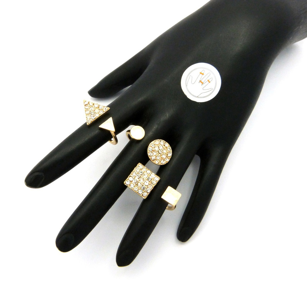 3 Piece Fashion Knuckle Ring Set Gold