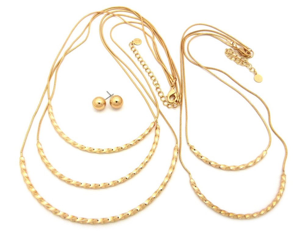 5 Layer Twisted Multi Strand Necklace Earrings Set Gold