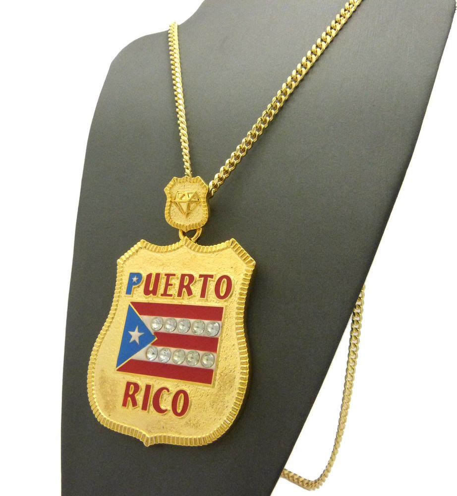 14k Gold Puerto Rico Flag Shield Iced Out Chain Pendant
