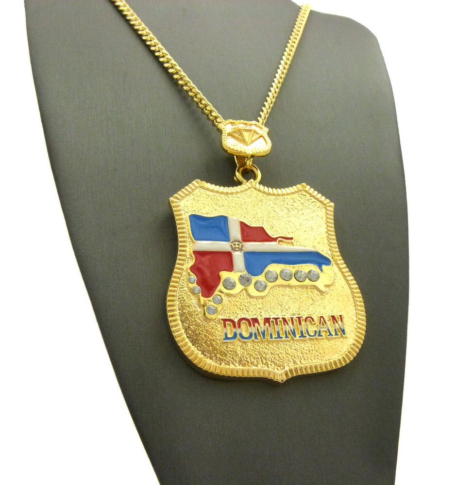 14k Gold Dominican Republic Flag Shield Iced Out Chain Pendant
