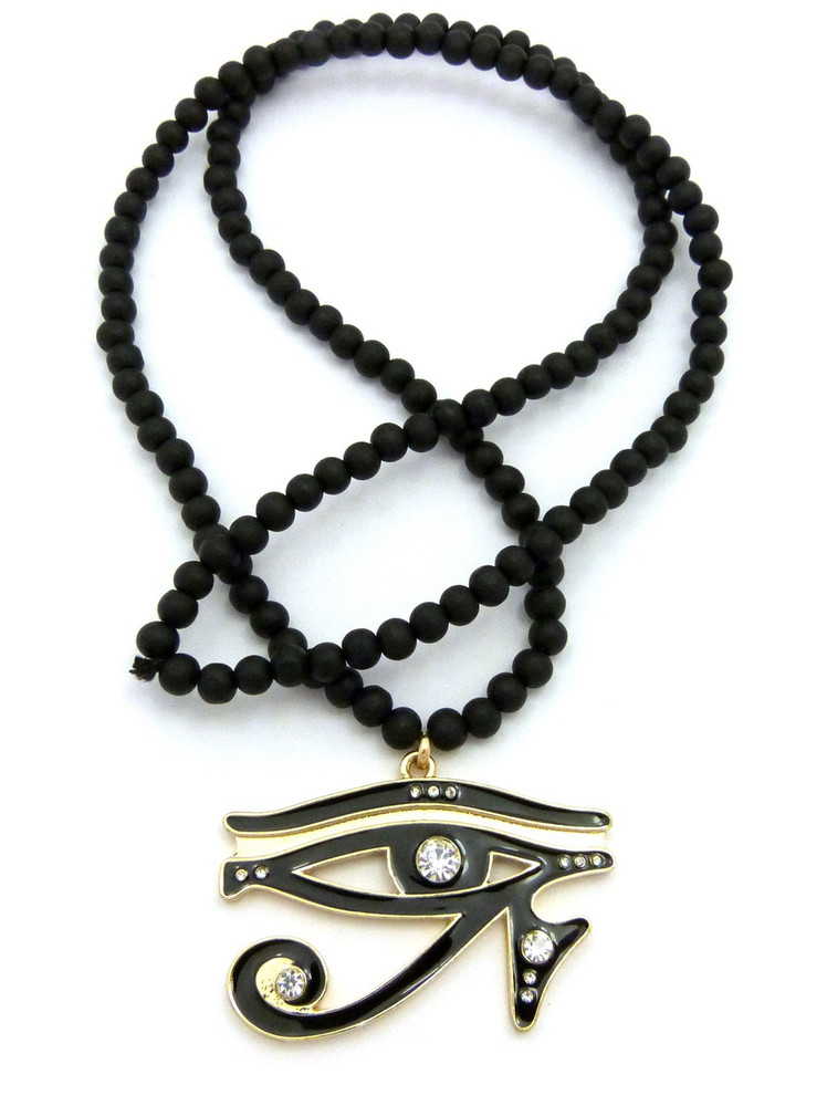 Diamond Cz Eye Of Ra Iced Out Pendant Wooden Chain Clear