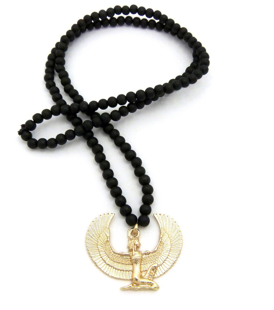 Goddess Isis 14k Gold Pendant Chain W/ Wooden Necklace
