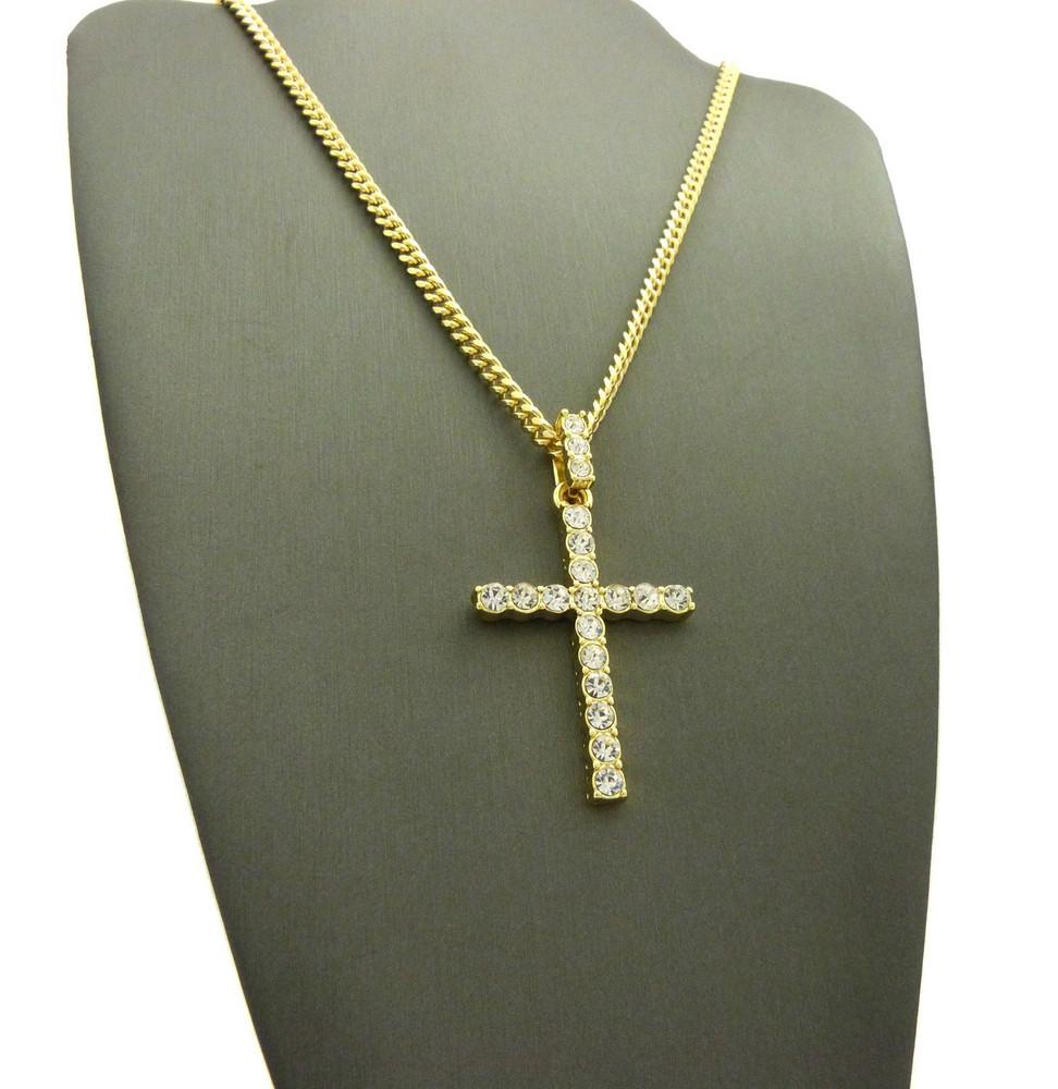14k Gold Iced Out Full Stone Diamond Cz Cross Cuban Chain