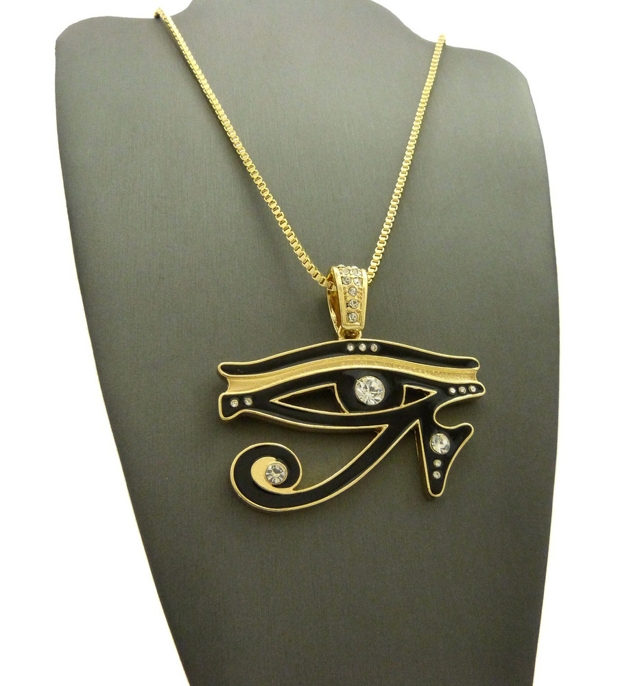14k Gold Diamond Cz Eye Of Ra Iced Out Pendant Chain Clear