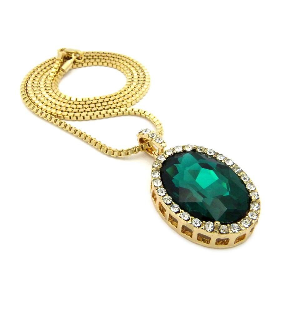 Oval Diamond Cz Gemstone Pendant Emerald Green Gold