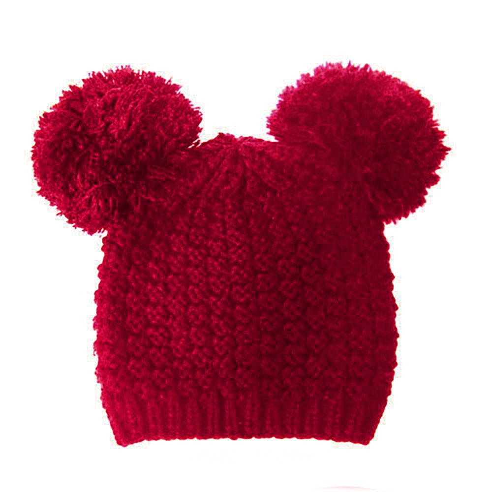 Fuzzy Cat Mouse Pom Pom Ball Beanie Hat Red Burgandy