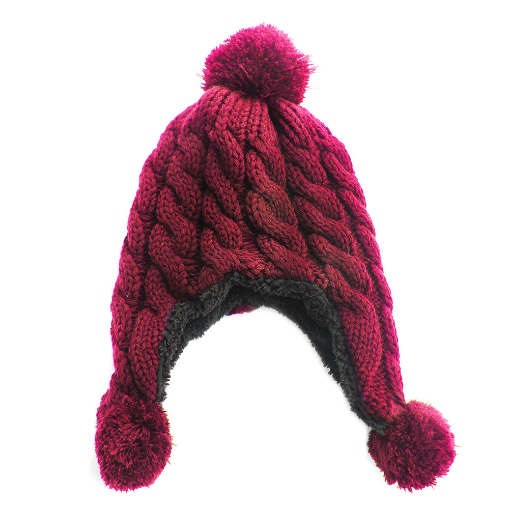 Knitted Trapper Aviator Hat Burgandy