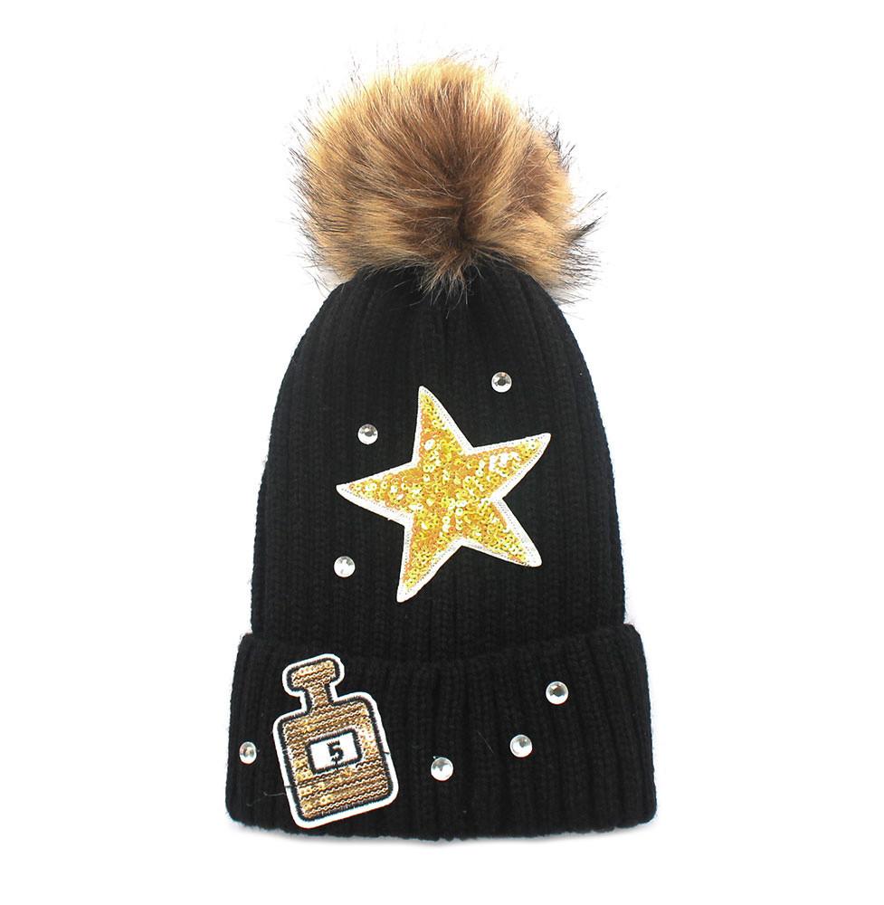 Super Star #5 Perfume Bottle Knitted Beanie Hat Black