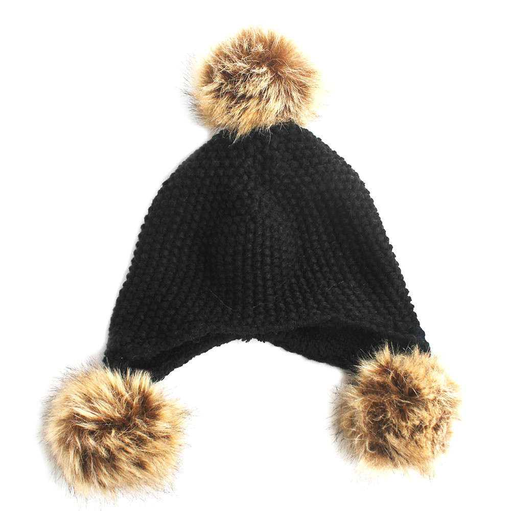 Pom Pom Ball Knitted Trapper Aviator Hat Brown