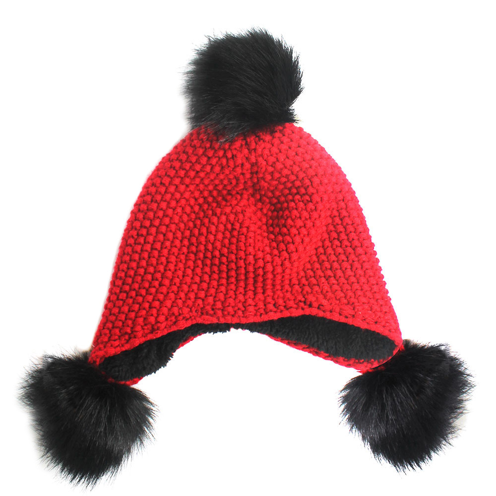 Pom Pom Ball Knitted Trapper Aviator Hat Black Red