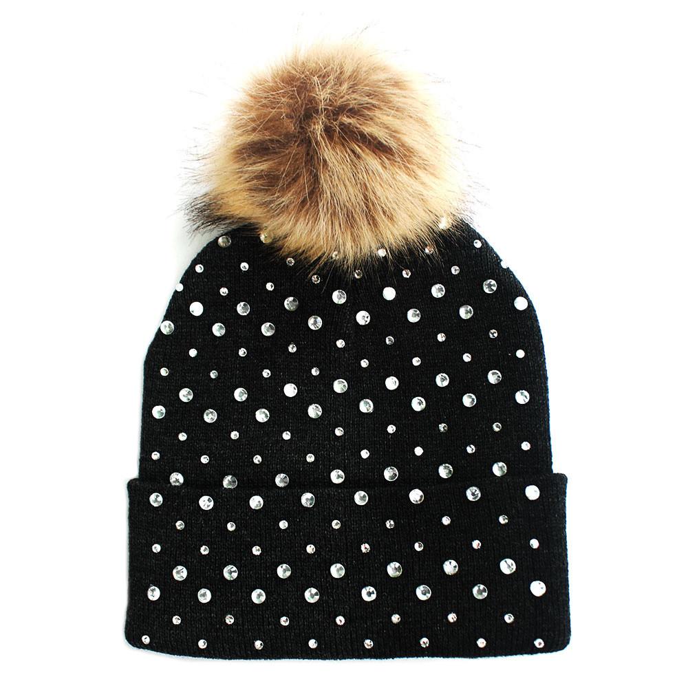Rhinestone Fashion Stylish Pom Pom Ball Beanie Hat Brown