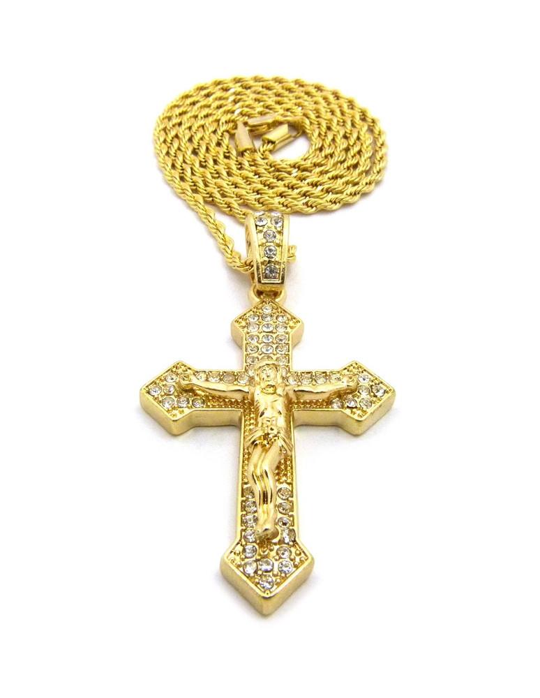 Diamond Cz Iced Out Arrow Cross Pendant Rope Chain 14k Gold