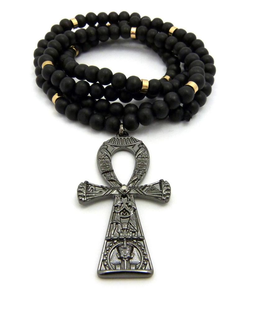 Egyptian Hieroglyphics Ankh Cross Pendant Black Hematite