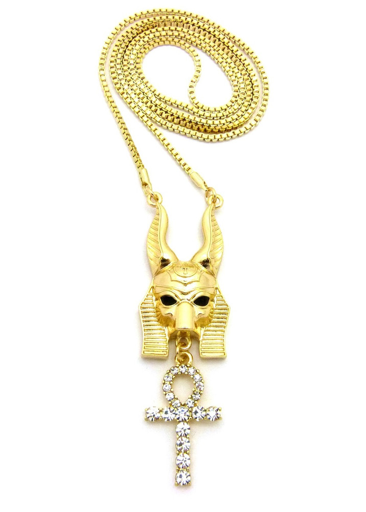 Egyptian God Anpu Anubis Iced Out Cross Pendant Chain Gold