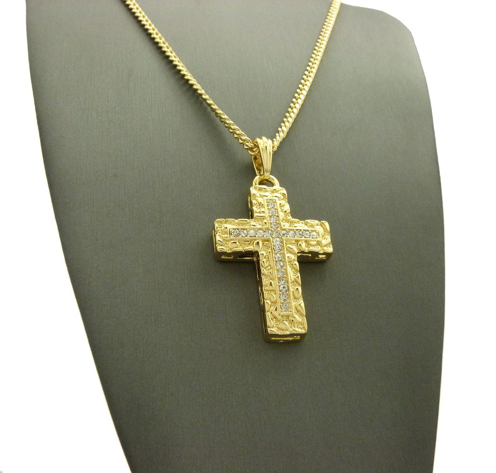 14k Gold Christ Within Nugget Cross Pendant Cuban Chain