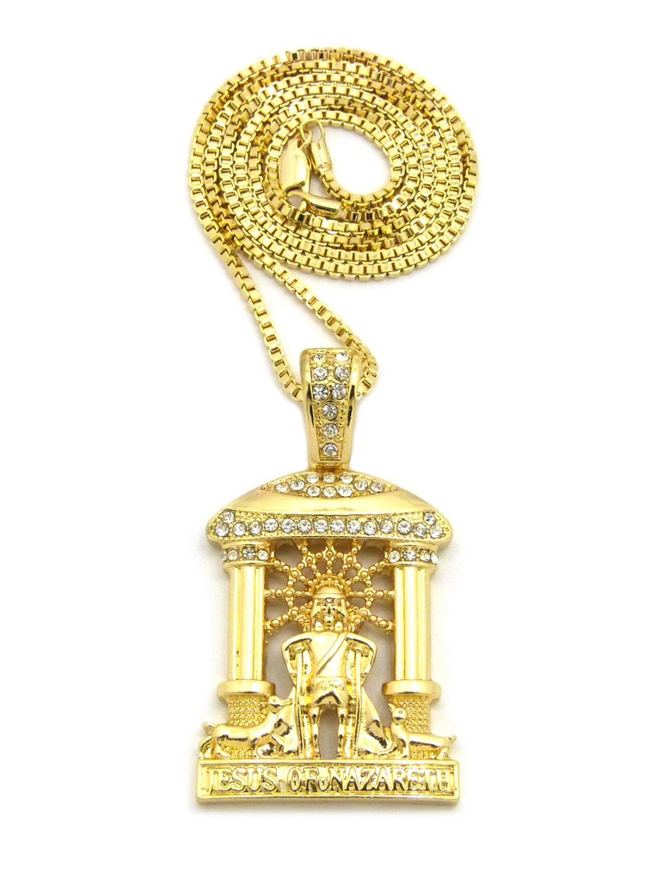 14k Gold Jesus Of Nazareth Cathedral Pendant Box Chain