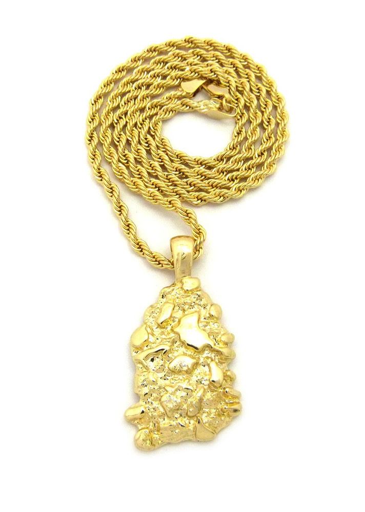 Hip Hop Gold Nugget Pendant Rope Chain 14k Gold