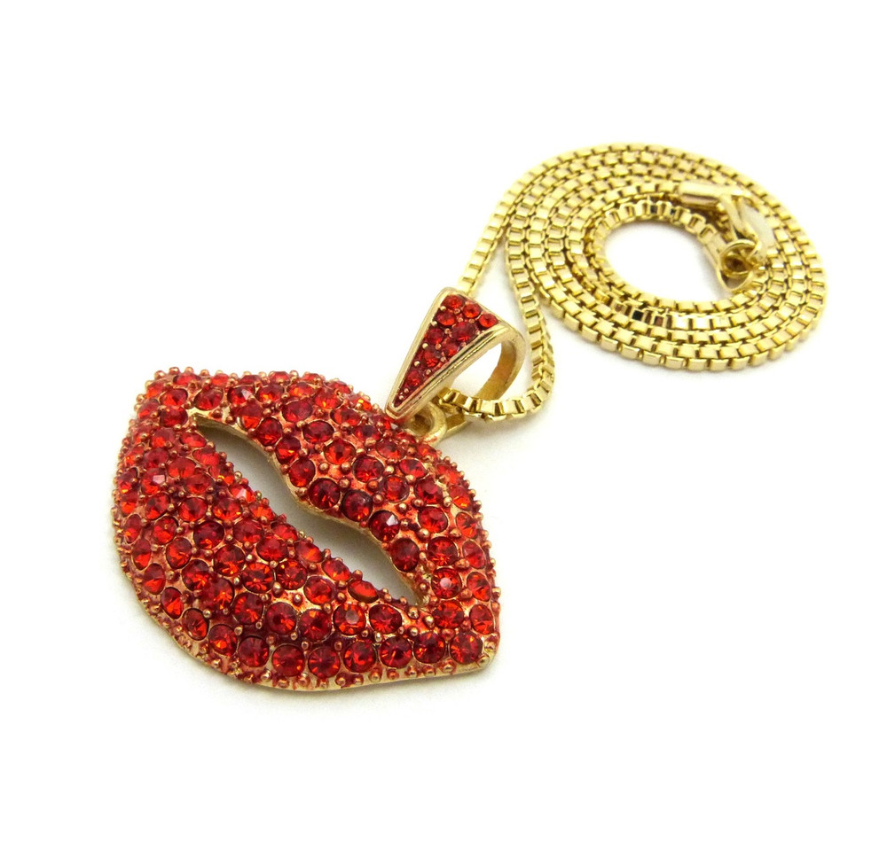Ladies Sexy Red Lips Diamond Cz Chain Necklace Gold