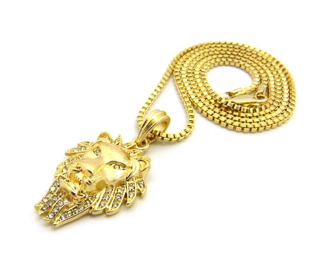 14k Gold Lion Of Judah Wrath Pendant Box Chain Necklace
