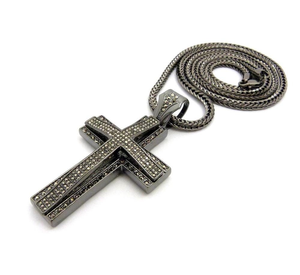 Mens Hip Hop 3D Arc CZ Stone Cross Pendant & Chain Black