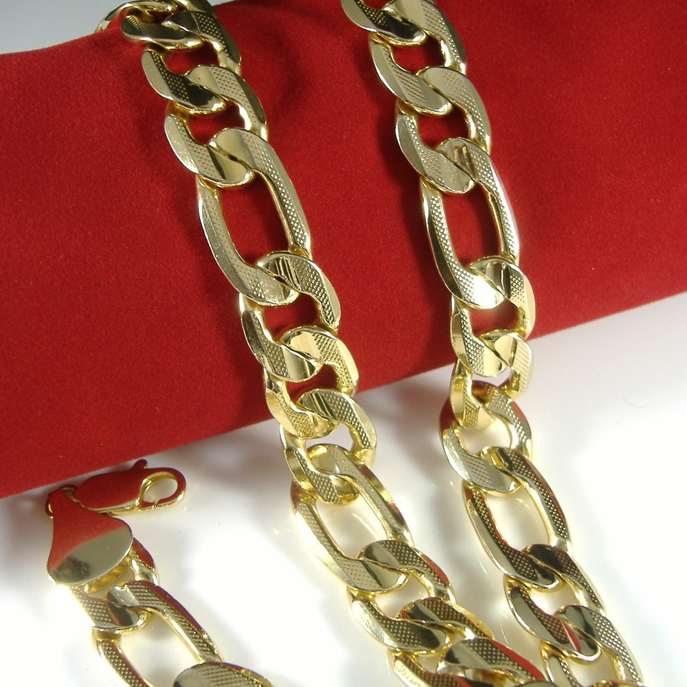 12.2mm 24 Inch Figaro Link Hip Hop Chain Necklace 14k Gold