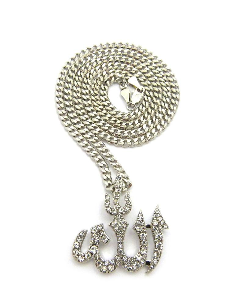 Diamond Cz Iced Out Allah Pendant Cuban Chain Necklace Silver