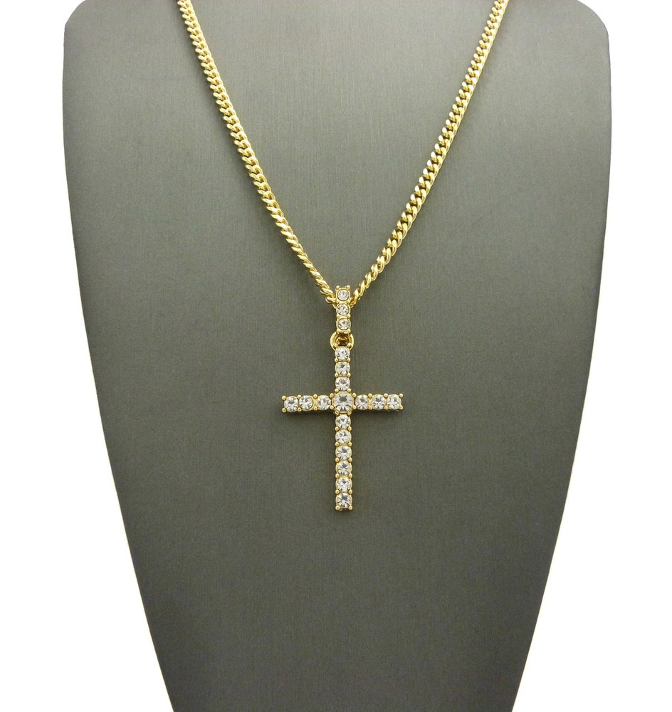 Center Stone 4 Prong All Ice Cross Cuban Chain Pendant 14k Gold
