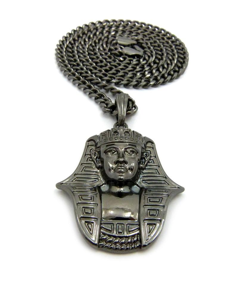 African Egyptian Pharaoh Khafra  Pendant Cuban Chain Black Hematite