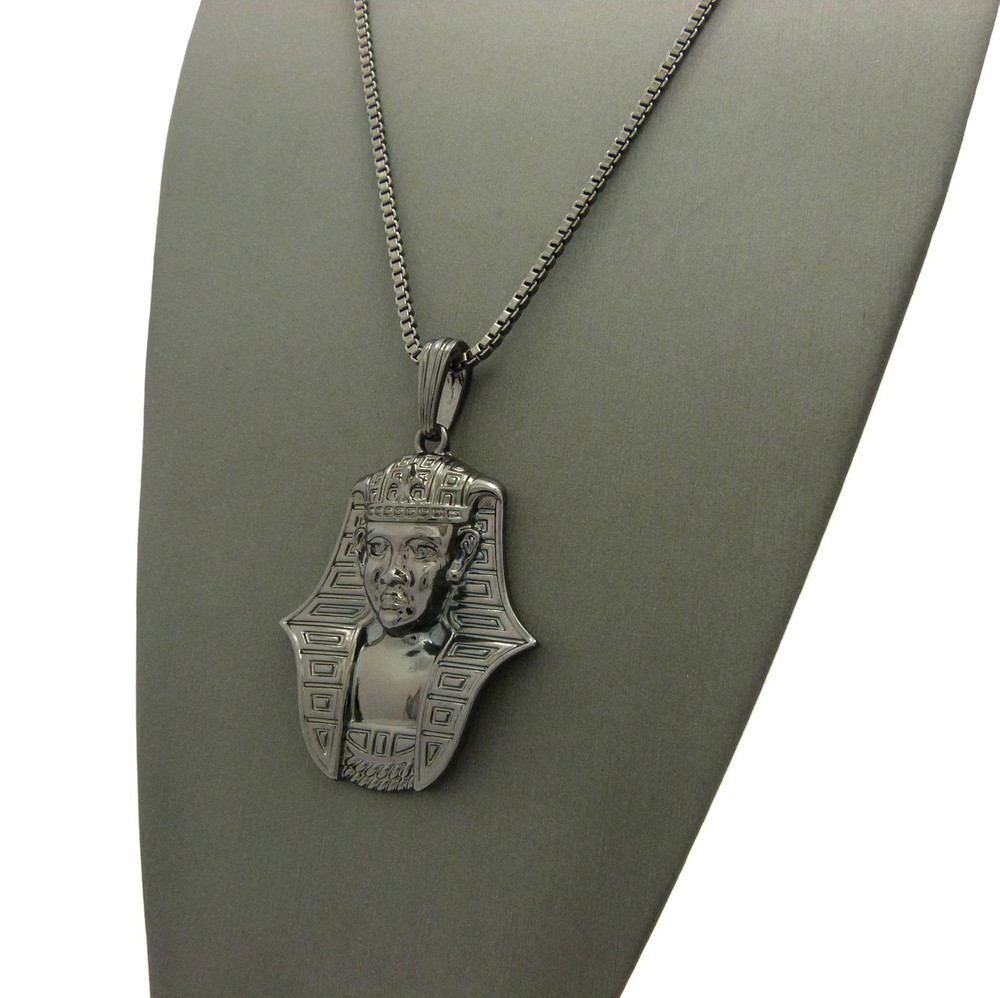 African Egyptian Pharaoh Khafra  Pendant Box Chain Black Hematite