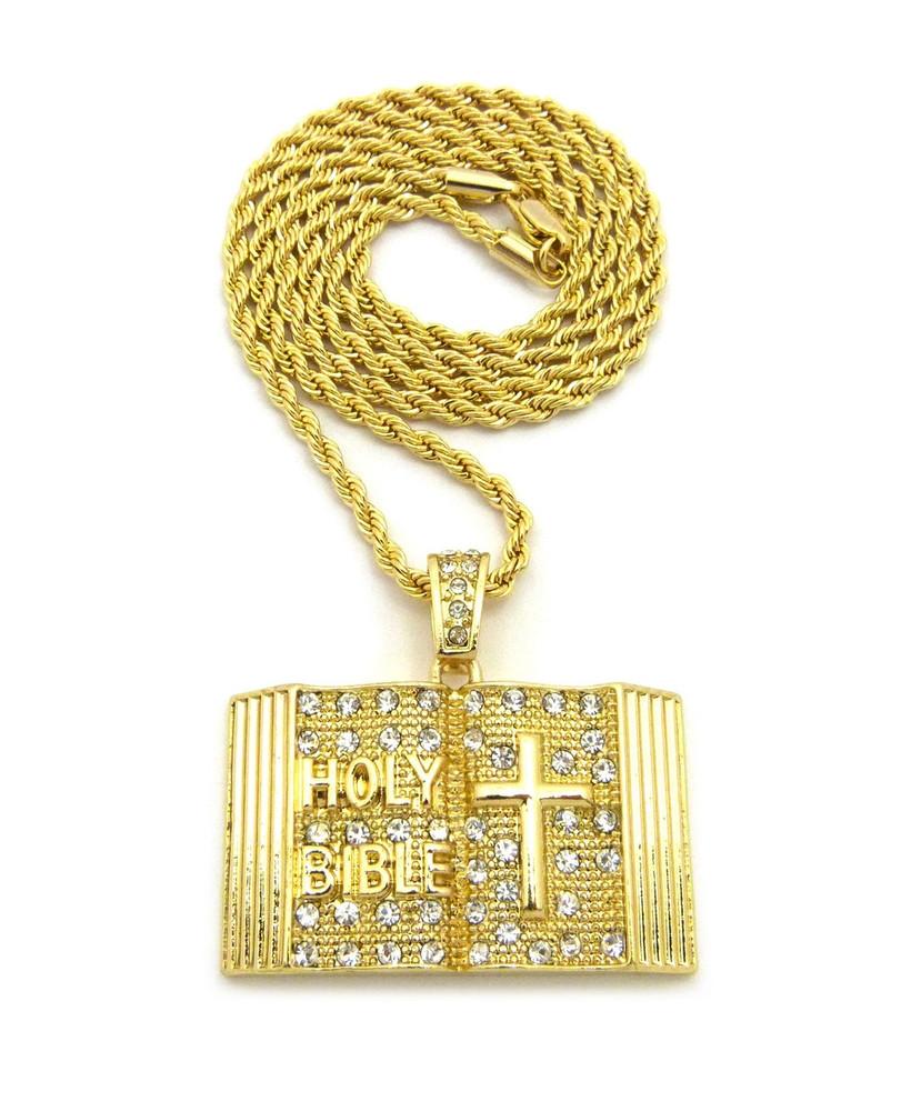 Holy Bible Diamond Cz Cross Pendant Rope Chain 14k Gold