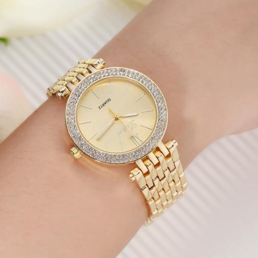 Women Simulated Diamond Double Row Watch