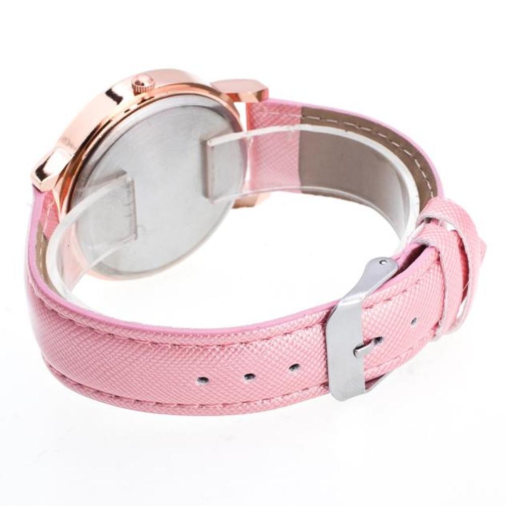 Diamond Galaxy Pink Leather Band Watch