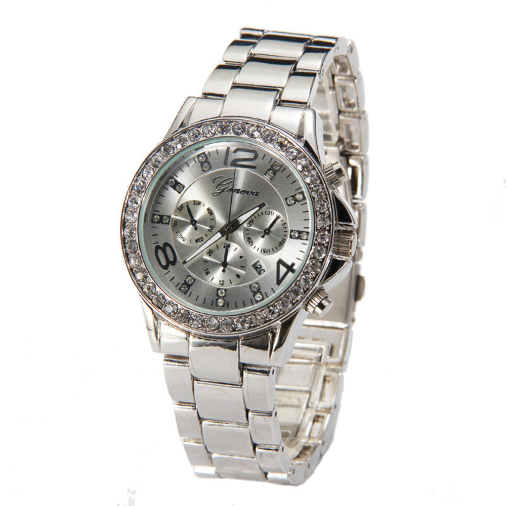 Ladies Simulated Diamond Bezel Luxury Crystal Wristwatch