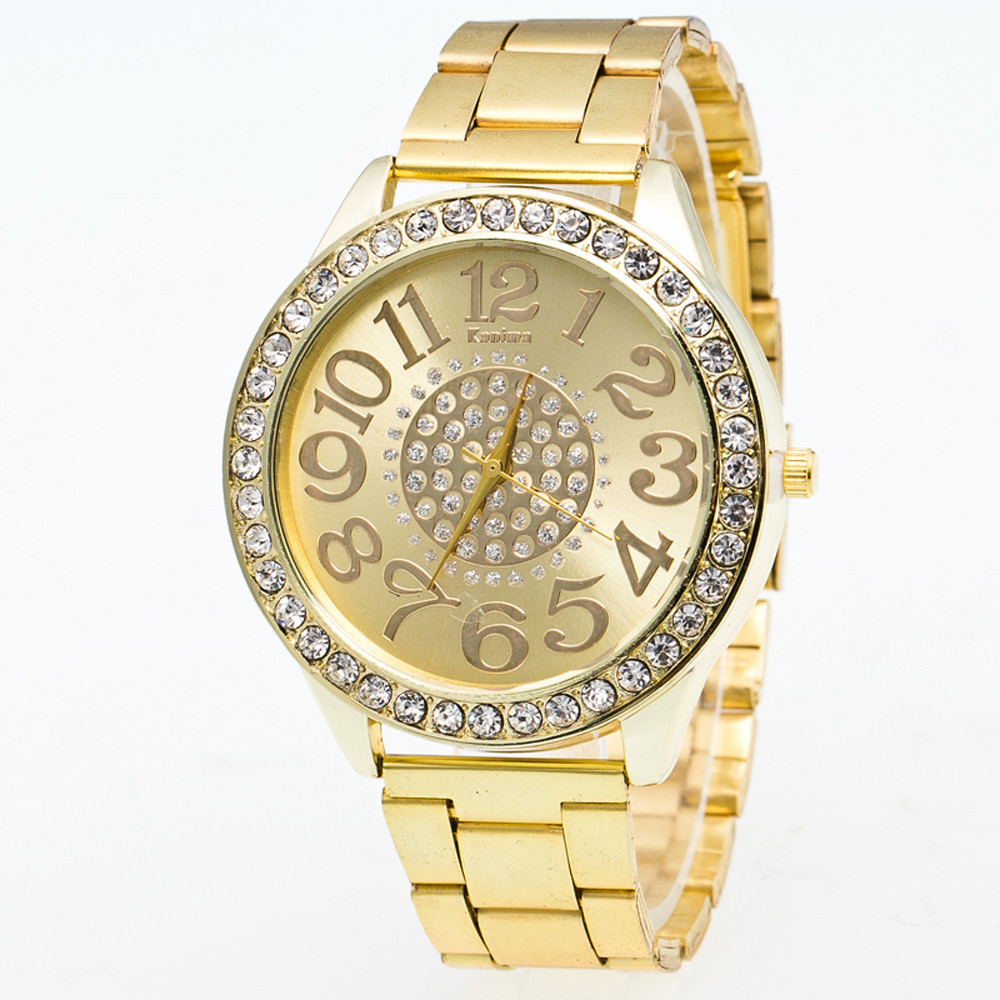 Luxury Boys Stainless Steel Pointer Iced Out Wrist Watch Gold