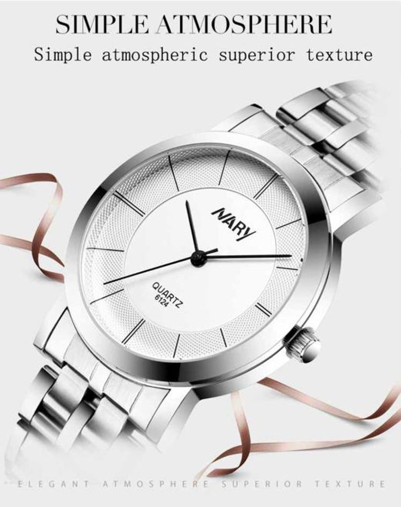 His and Hers Watch Single Tungsten Stainless Steel Wrist Watches