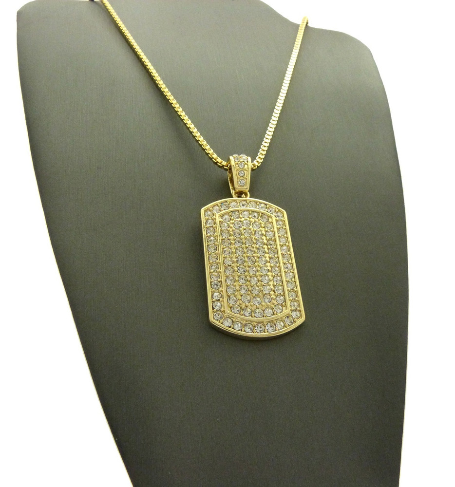 Diamond Cz Ice Dog Tag Pendant Box Chain Necklace Gold