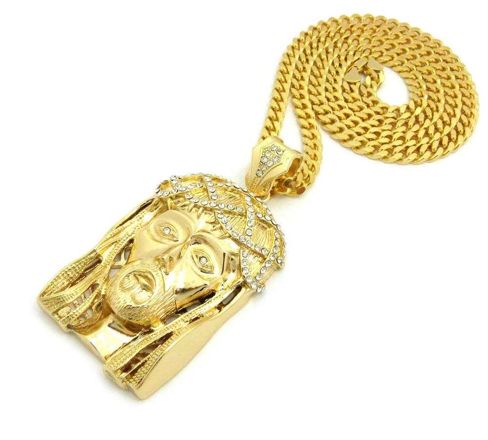14k Gold Crown Of Thorns Hip Hop Jesus Cuban Chain Pendant