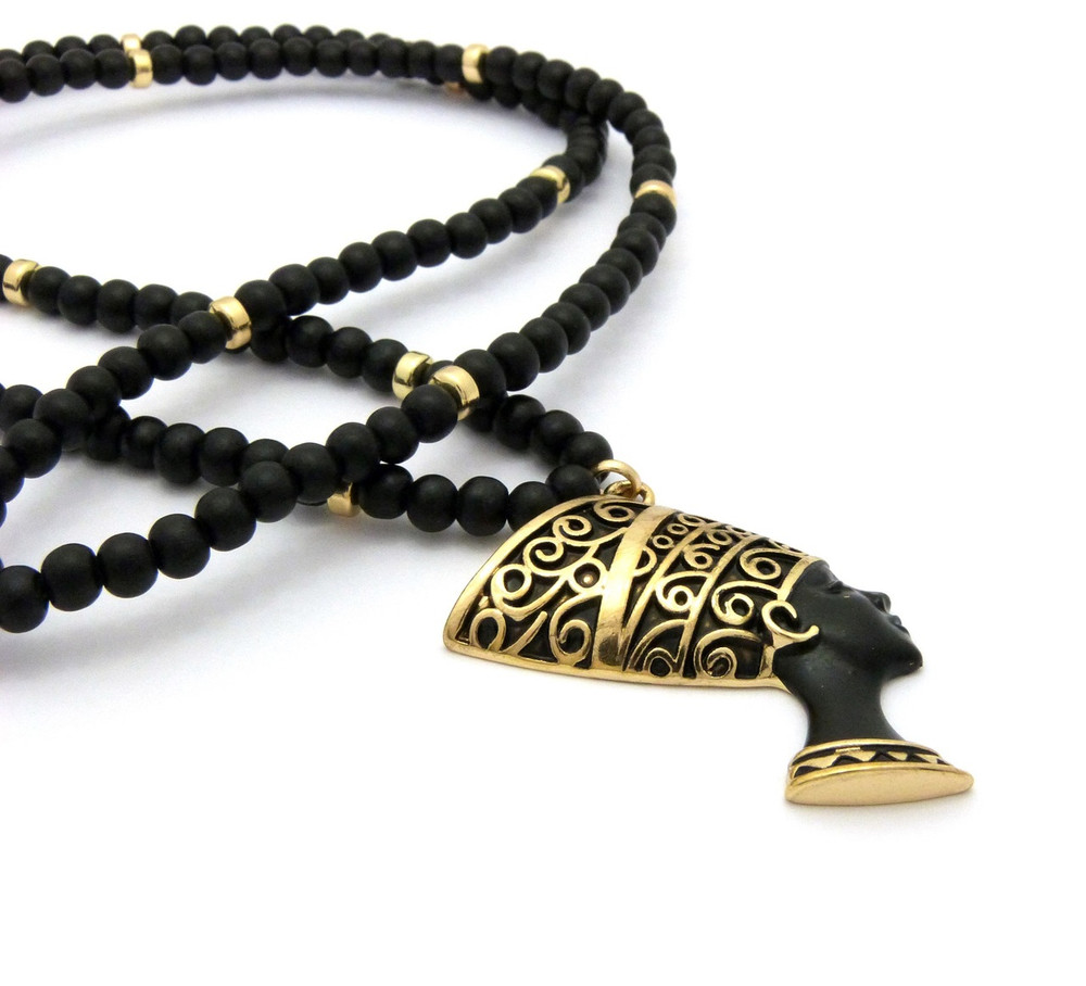 Queen Nefertiti Black Gold Ancient Egyptian African Pendant