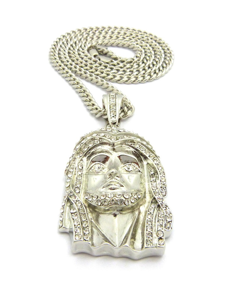 Art Deco Style Jesus Face Hip Hop Pendant Silver