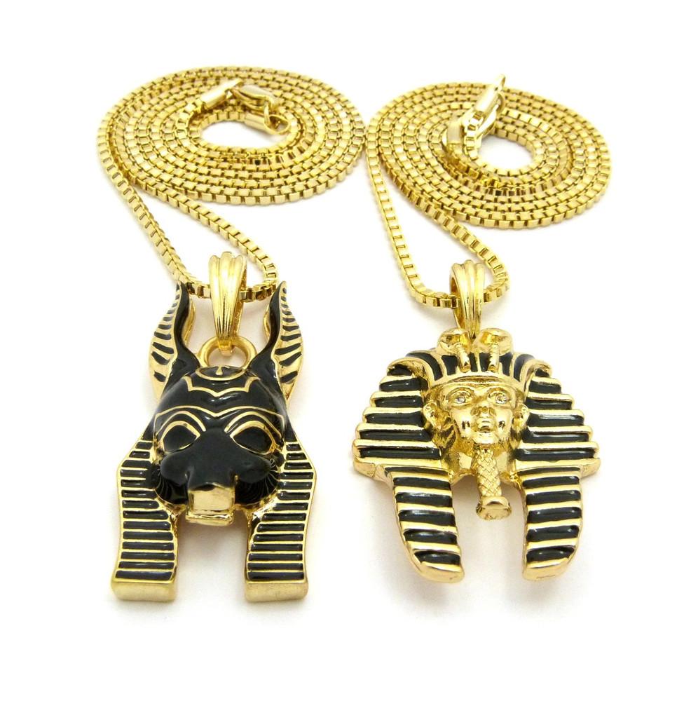 14k Gold King Tut God Anubis Pendant Chain Set