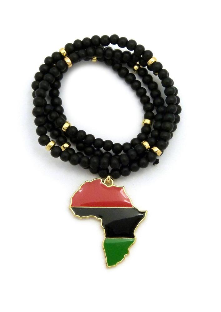 Africa Motherland Black Red Green Pendant 14k Gold
