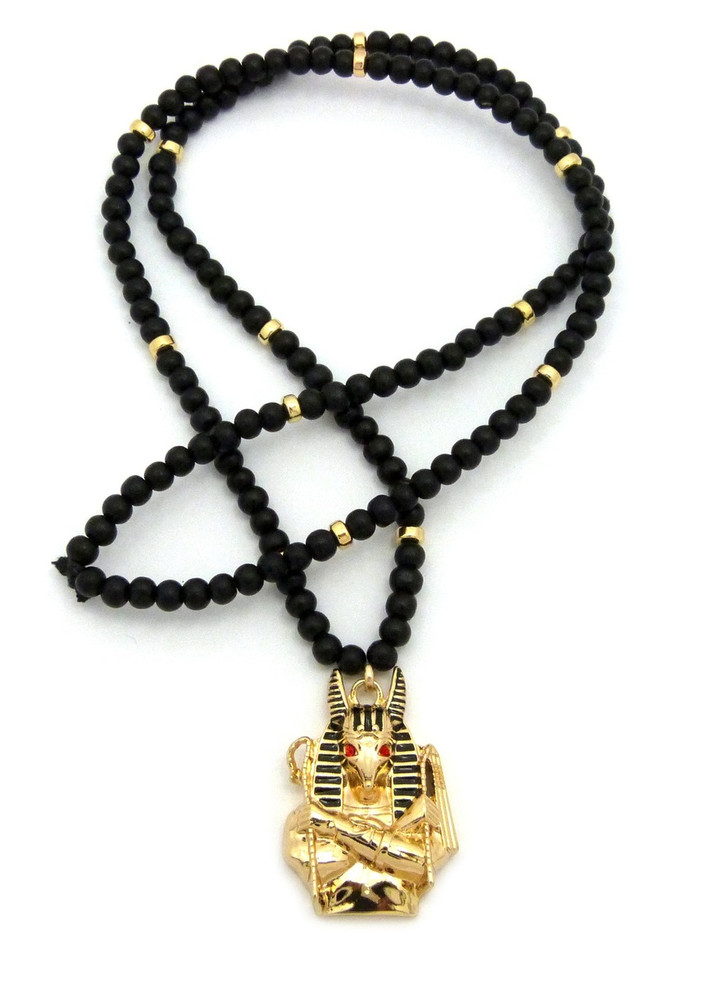 Egyptian God Anpu Anubis Pendant 14k Gold