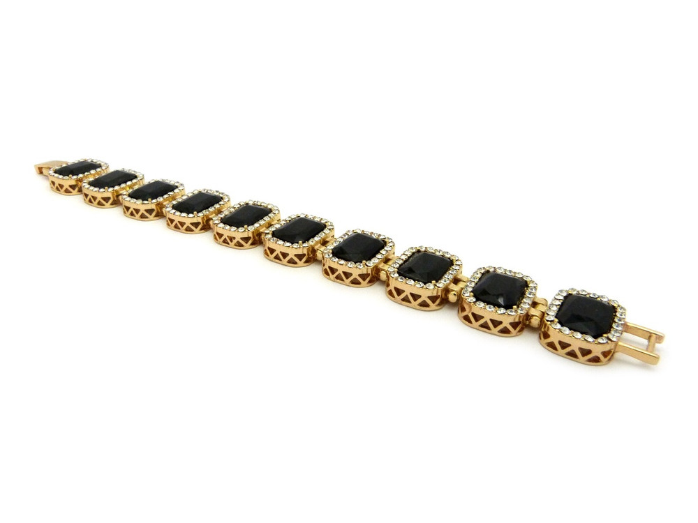 14k Gold Iced Out Ruby Black Stone Diamond Cz Premium Bracelet