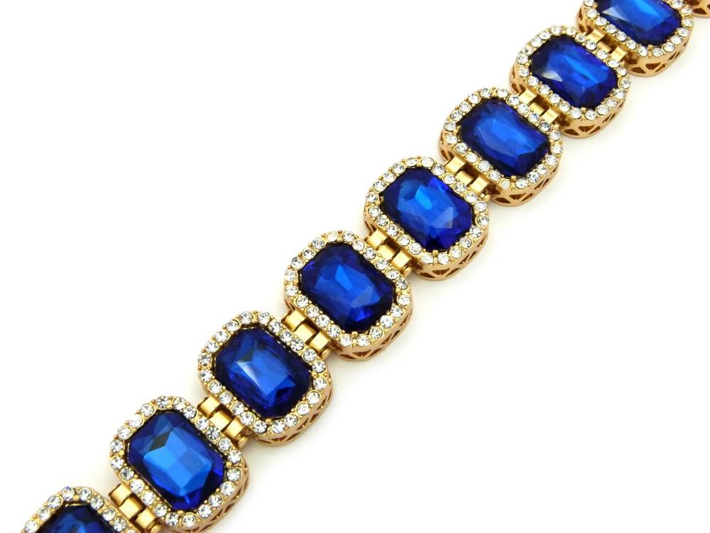 14k Gold Iced Out Ruby Blue Stone Diamond Cz Premium Bracelet