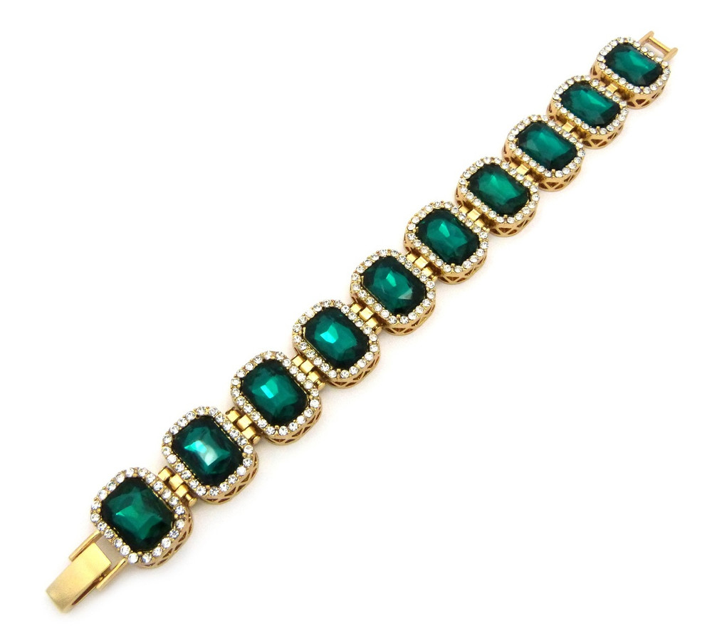 14k Gold Iced Out Ruby Green Stone Diamond Cz Premium Bracelet