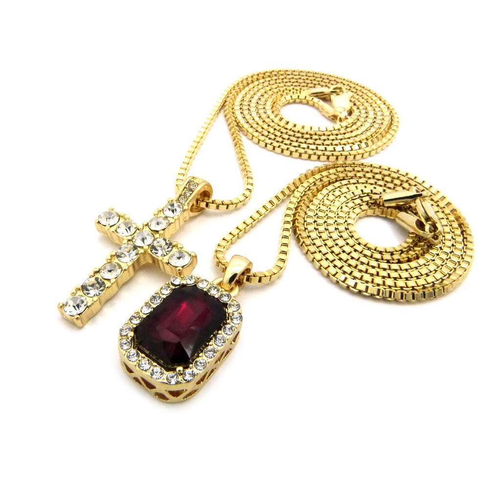 Hip Hop Onyx Gem Shield Iced Cross Pendant Gold Red