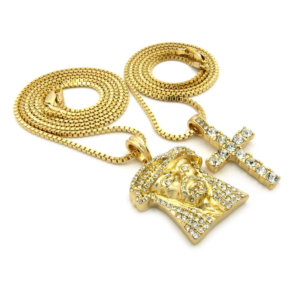 14k Gold  Full Stone Iced Up Jesus Piece Cross Pendant