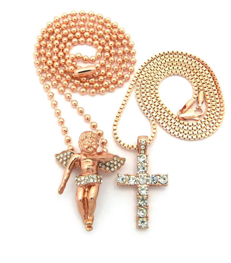 Full Stone Iced Out Cross Angel Cherub Pendant Rose Gold