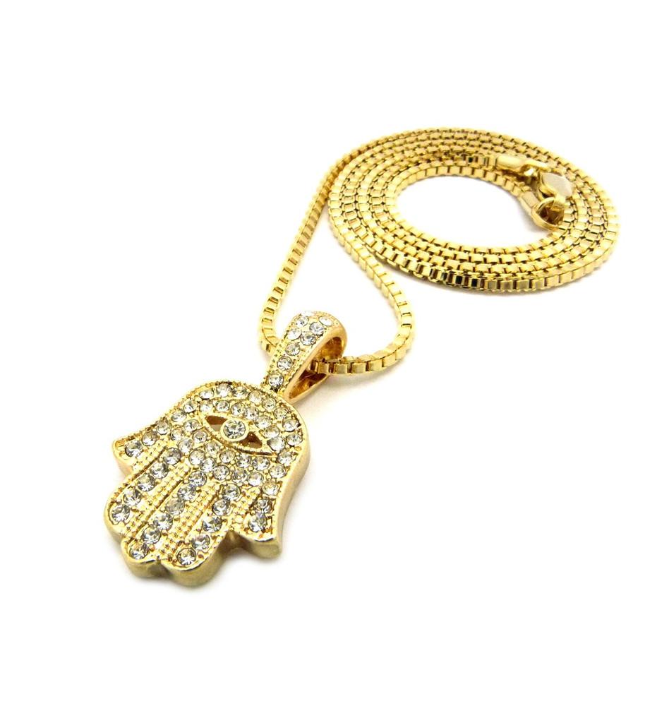 14k Gold Hamsa Hand of Fatima Diamond Cz All Seeing Pendant